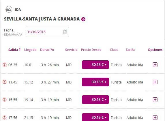 Расписание поездов от Севильи до Гранады