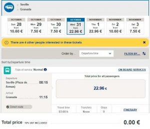 Стоимость билета на автобус от Севильи до Гранады