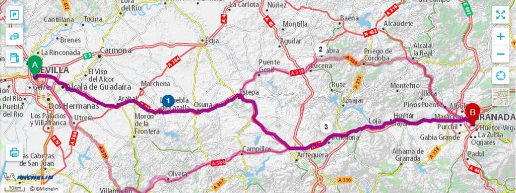 Маршрут от Севильи до Гранады