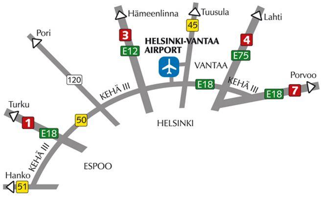 Расположение аэропорта Вантаа в Хельсинки