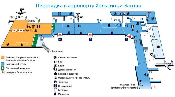 Схема 2 аэропорта Вантаа в Хельсинки