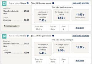расписание автобусов из Барселоны в Сарагосу