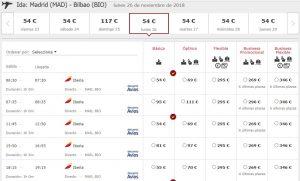 Расписание Iberia из Мадрида в Бильбао
