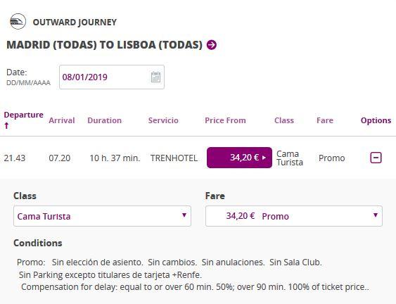 Расписание поезда из Мадрида в Лиссабон