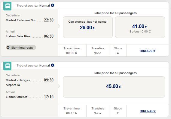 Расписание автобусов Alsa из Мадрида в Лиссабон