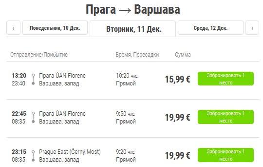 Расписание автобусов Flixbus Прага–Варшава
