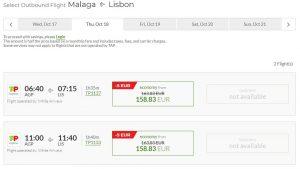 Расписание самолетов из Малаги в Лиссабон