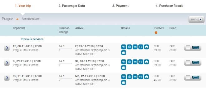 Автобус Eurolines из Праги в Амстердам