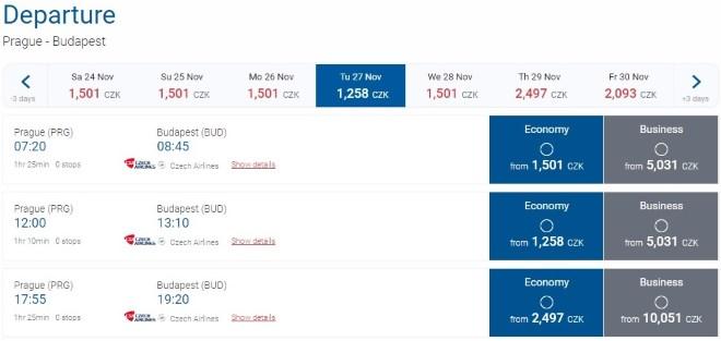 Самолет CSA Czech Airlines из Праги в Будапешт