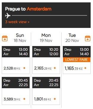 Самолет EasyJet из Праги в Амстердам