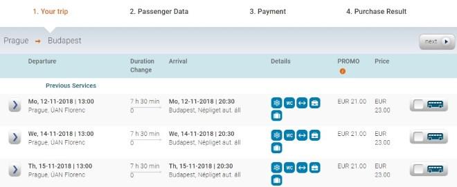 Автобус Eurolines из Праги в Будапешт
