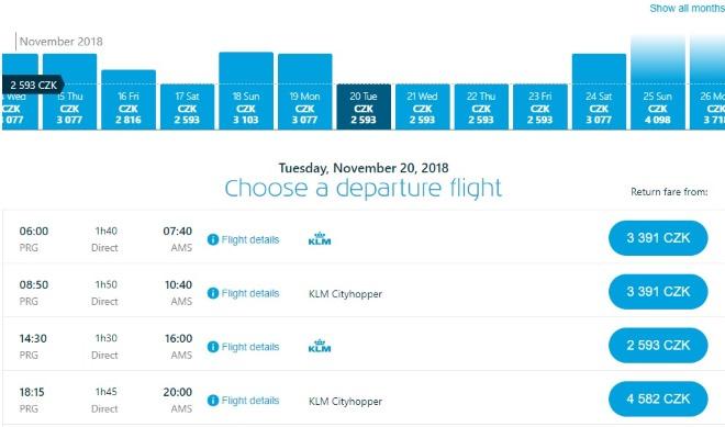 Самолет KLM из Праги в Амстердам
