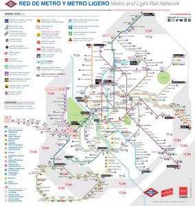 схема «легкого» и «настоящего» метро Мадрида
