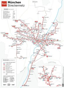 Схема маршрутов трамвая в Мюнхене