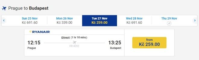 Самолет Ryanair из Праги в Будапешт