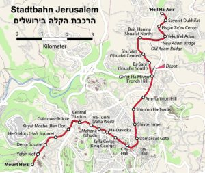 Схема трамвая в Иерусалиме