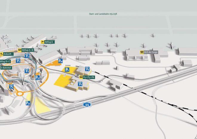 Схема терминалов и карта аэропорта Dusseldorf Weeze