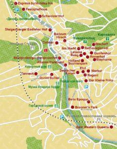 Карта достопримечательностей в Баден-Бадене