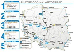 Карта платных дорог в Польше