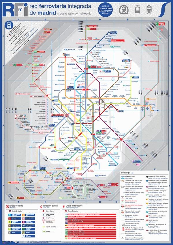 Схема метро в Мадриде
