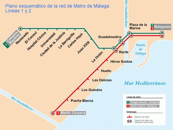 Схема метро Малаги