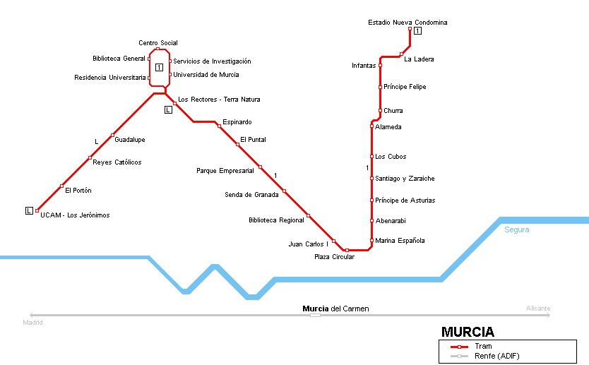 Схема метро Мурсии