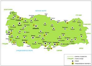 карта Турции с аэропортами