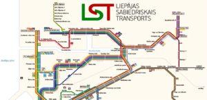 Схема движения автобусов в Лиепае