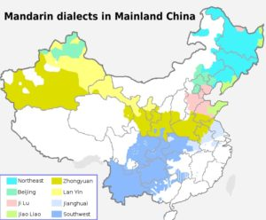 Ареал употребления разных подгрупп мандаринского диалекта