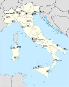 Аэропорты Италии на карте
