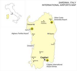 Аэропорты Сардинии на карте