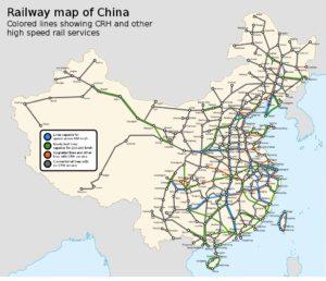 схема железных дорог Поднебесной