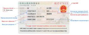 образец бизнес-визы в Китай