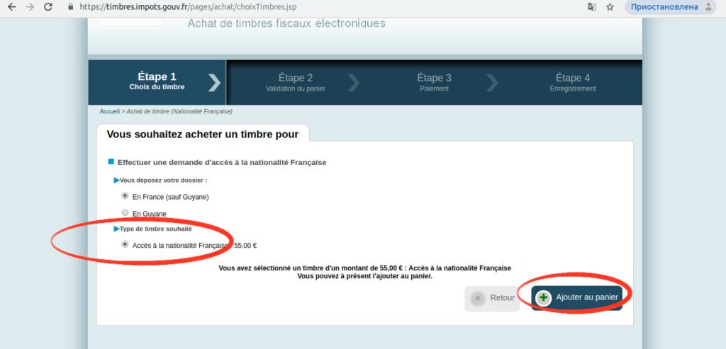 Опция «Доступ к французскому индигенату» и подтверждение
