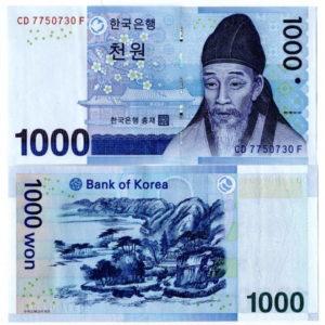 1000 южнокорейских вон